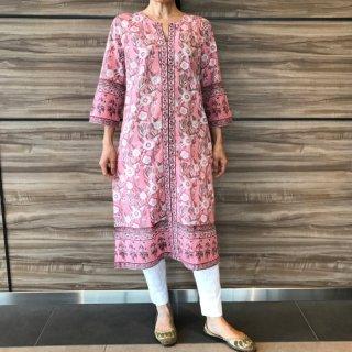 ANOKHI ロングクルタ ピンク花柄 Mサイズ
