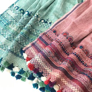 (期間限定20%引き) カディコットン刺繍ストール グリーン
