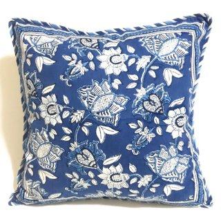 ANOKHI クッションカバー ブルー花柄  45cm x 45cm