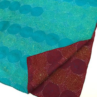 カンタ(刺し子刺繍)リバーシブルストール 大判 エメラルドグリーン×ボルドー