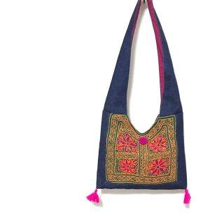 【アトリエチャンドニー】刺繍古布デニムショルダーバッグ