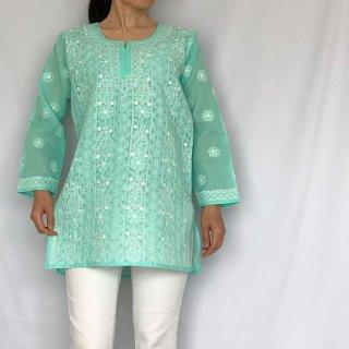 チカンカリ刺繍ミディアムチュニック エメラルドグリーン Mサイズ
