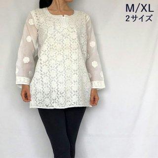 チカンカリ刺繍ミディアムチュニック ホワイト M/2Lサイズ