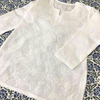 チカンカリ刺繍チュニック ホワイト Sサイズ