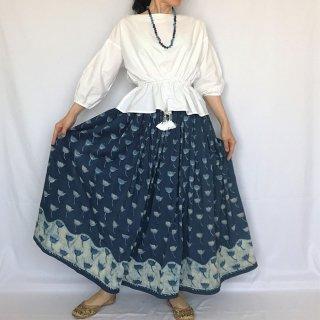 Aavaran インディゴマキシ丈フレアスカート ロータス Mサイズ