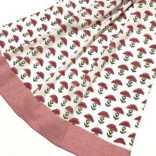 ブロックプリントコットンストール ピンク花柄