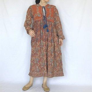 オールドシルクサリーワンピース ブラウン刺繍 M(L)サイズ