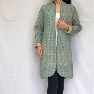 ラリーキルトリバーシブルロングジャケット ライトブルー M〜Lサイズ