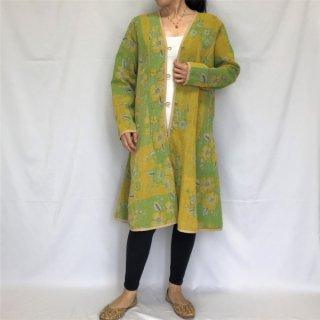 ラリーキルトリバーシブルロングジャケット イエロー×グリーン L〜XLサイズ