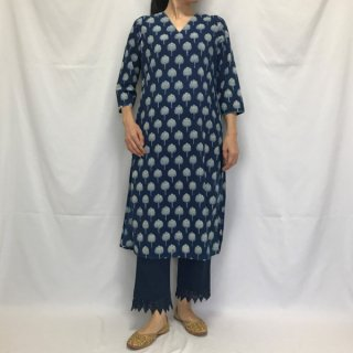 Aavaran インディゴロングクルタ ロータス M/Lサイズ