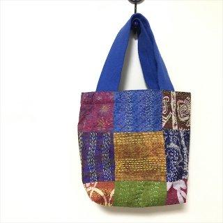 【アトリエチャンドニー】カンタ刺繍ミニバッグ ブルー