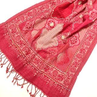 ウール手刺繍ショール 大判 ピンク