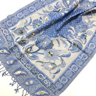 ウール手刺繍ショール 大判 ブルー