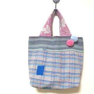 【アトリエチャンドニー】ラリーキルトトートバッグ ブルー×ピンクアソート 柄C