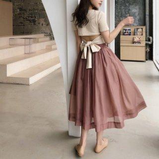 即納 3color セットアップ バックオープン リボンTee + ミディ丈 スカート