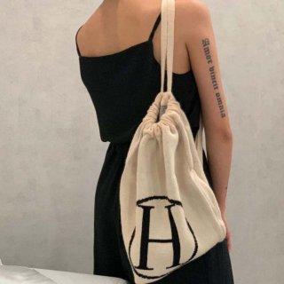 予約 2color Hマーク コットン ビッグ 巾着 バッグ