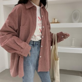 予約 3color オーバーサイズ コーデュロイ シャツ ジャケット