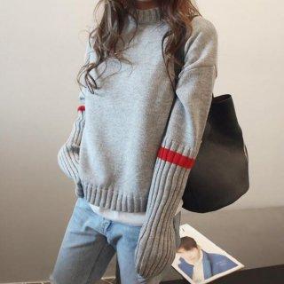 予約 2color モックネック 袖 リブ レッドライン デザイン ニット トップス セーター