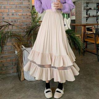 予約 2color シースルー ティアード フリル 2段 スカート ロングスカート