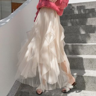 予約 2color デザイン フリル 立体 チュールスカート ロングスカート