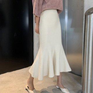予約 2color マーメイド 裾フリル ミモレ丈 スカート