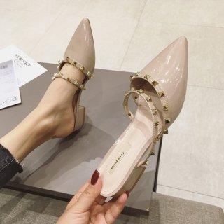 予約 6color ポインテッドトゥ ピラミッド スタッズ ワンバンド ミュール 1cm heel