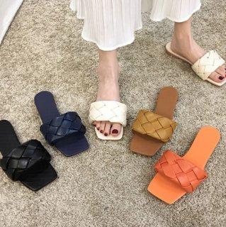 即納 7color イントレチャート ワンバンド ミュール ペタンコ 1.5cm heel