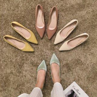 予約 4color パステルカラー ポインテッドトゥ パンプス 4.5 cm heel