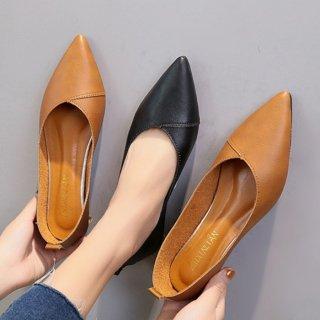 予約 2color ポインテッドトゥ フラットシューズ ペタンコ シンプル 1.5cm heel