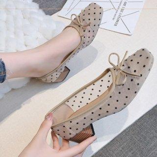予約 2color シースルー ドット デザイン シアー リボン スクエアトゥ パンプス 4cm heel