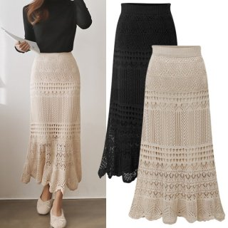 予約 2color クロシェ デザイン フレア ロング スカート