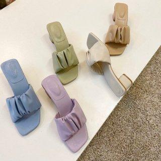 即納 5color スクエアトゥ ギャザーデザイン ボリューム アッパー ワンバンド ミュール heel 5cm