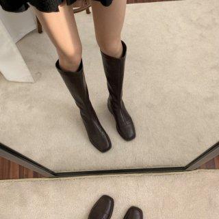 予約 2color スクエアトゥ シンプル デザイン ロングブーツ heal3cm