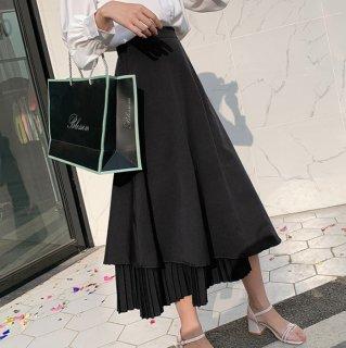 予約 プリーツ ドッキング フレア アシンメトリー デザイン 裾 スカート ロング