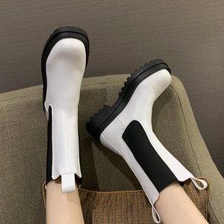 予約 サイドゴア プラットフォーム ミドル丈 ブーツ ホワイト