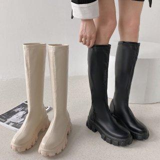予約 2color  厚底ラバーソール ロングブーツ heel 4cm