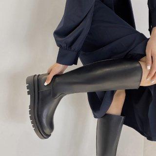 予約 2color ラウンドトゥ ボリューム ソール ロングブーツ heel 3.5cm