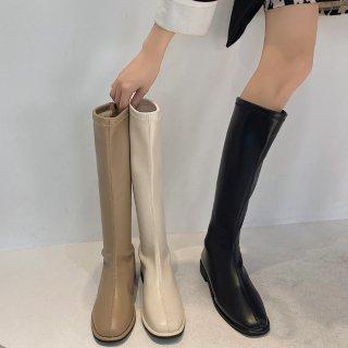 予約 4color スクエアトゥ シンプル ロングブーツ heel 2.5cm