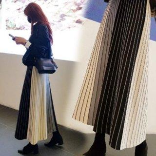 予約 2color プリーツ ロング スカート トライカラー ブロック デザイン