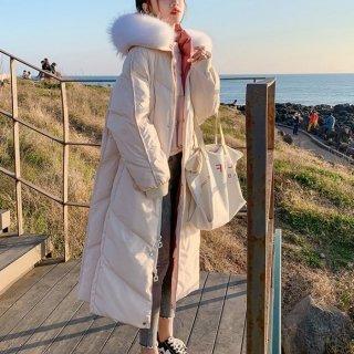 予約 2color ファー フーディー コート パイピング 中綿 ロング