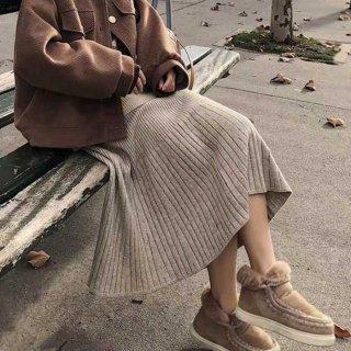 予約 4color ニットスカート フレア ロング スカート