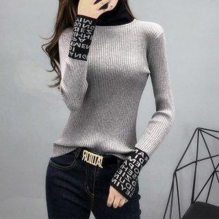 予約 4color 配色 ニット 袖ロゴ ハイネック セーター