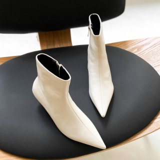 予約 3color ポインテッドトゥ サイドファスナー シンプル ショートブーツ heel 6cm