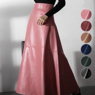 予約 6color エコレザー フレア ロング スカート フェイクレザー
