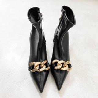 予約 3color チェーン デザイン ポインテッドトゥ ショートブーツ 6cm heel