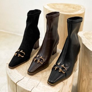 予約 3color バックル ブーツ ショート ポインテッドトゥ 7cm heel