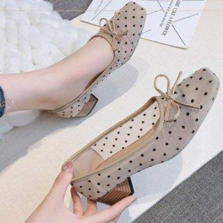 即納 2color シースルー ドット デザイン シアー リボン スクエアトゥ パンプス 4cm heel