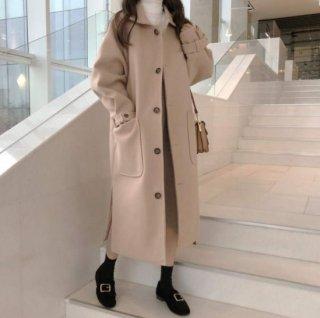 予約 2color ボリュームスリーブ ステンカラー コート