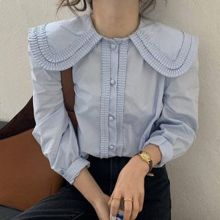 予約 2color プリーツ カラー くるみボタン シャツ