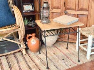 インド 木と鉄のサイドテーブル